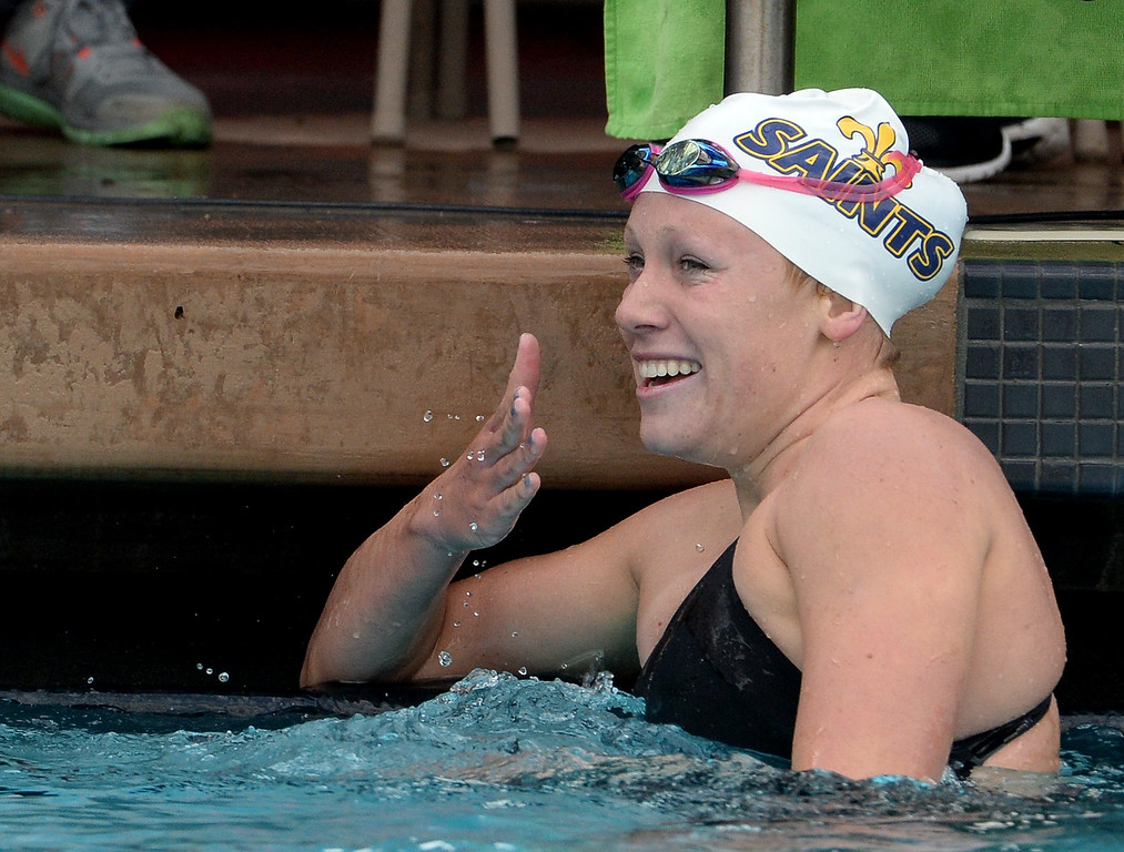 . Crean Lutheran\'s Ella Eastin reacts after winning the 200 yard IM during the CIF division 2 swimming finals in the Riverside Aquatics Complex at Riverside City College in Riverside, Calif., on Saturday, May 16, 2015.  (Photo by Keith Birmingham/ Pasadena Star-News)