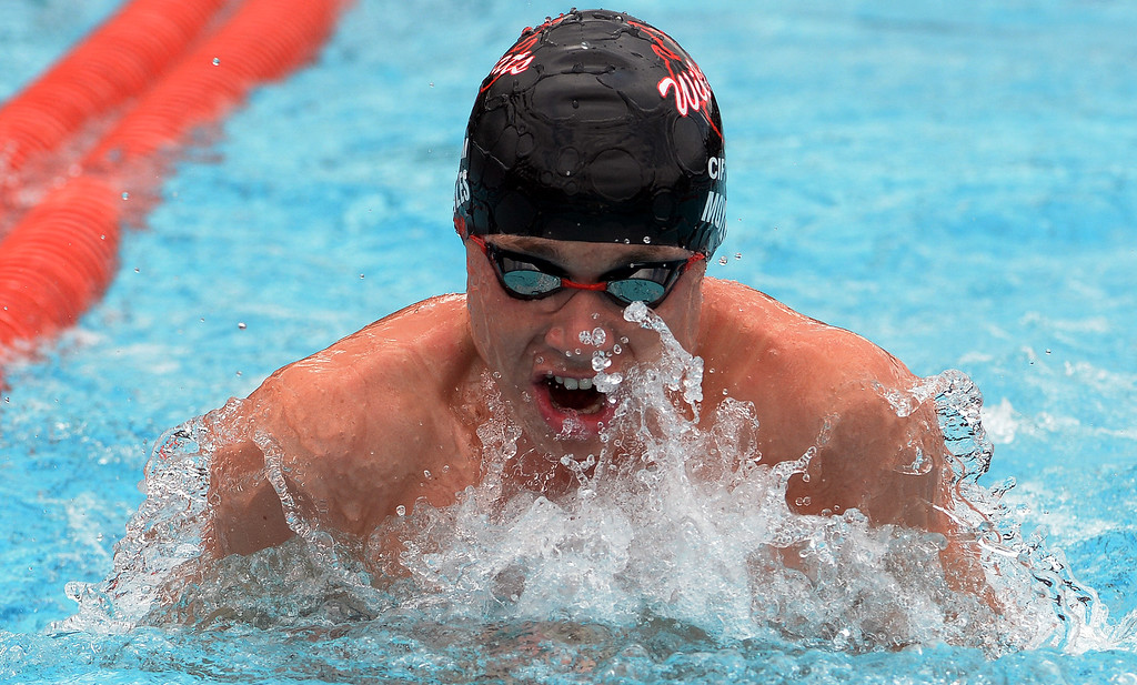 . Redland\'s Jack Moyles in the 200 yard medley relay during the CIF division 2 swimming finals in the Riverside Aquatics Complex at Riverside City College in Riverside, Calif., on Saturday, May 16, 2015.  (Photo by Keith Birmingham/ Pasadena Star-News)