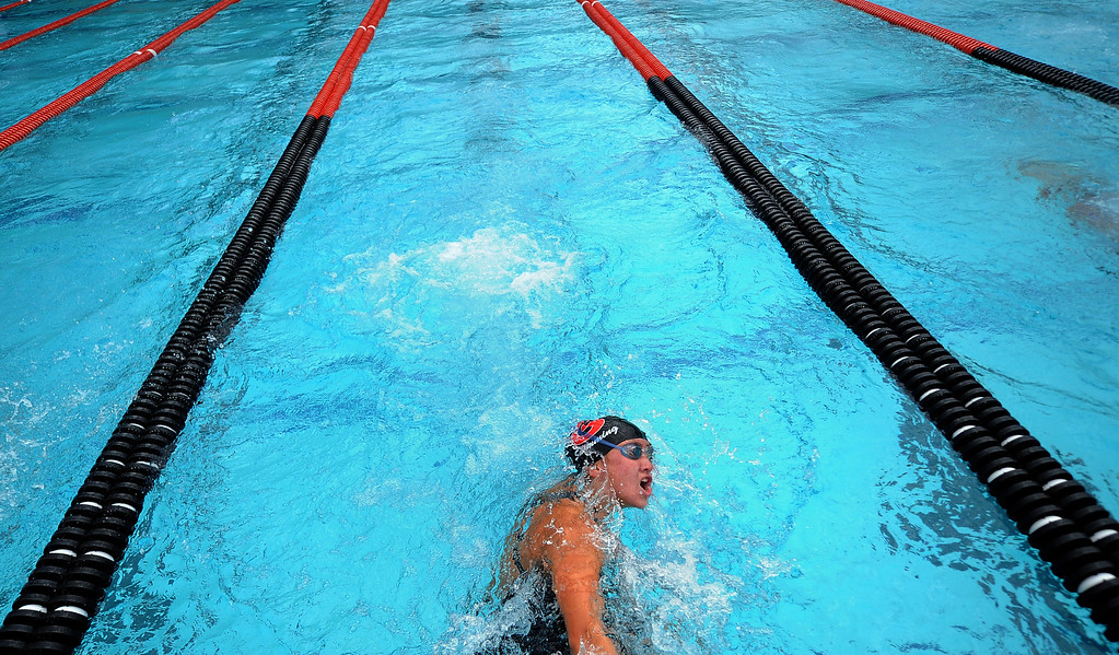 . Glendora\'s Catherine Sanchez finished second in the 100 yard butterfly during the CIF division 2 swimming finals in the Riverside Aquatics Complex at Riverside City College in Riverside, Calif., on Saturday, May 16, 2015.  (Photo by Keith Birmingham/ Pasadena Star-News)