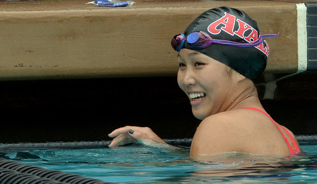 . Ayala\'s Kenisha Liu wins the 100 yard freestyle during the CIF division 2 swimming finals in the Riverside Aquatics Complex at Riverside City College in Riverside, Calif., on Saturday, May 16, 2015.  (Photo by Keith Birmingham/ Pasadena Star-News)