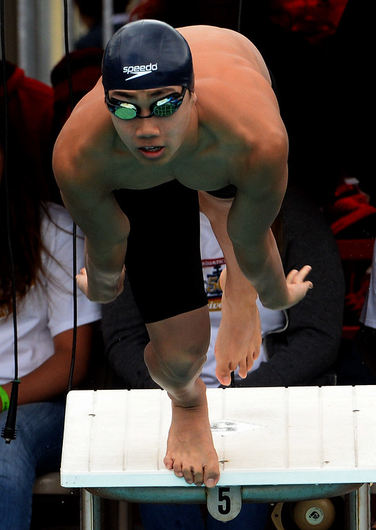 . Arcadia\'s Tenny Chong wins the 50 yard freestyle during the CIF division 2 swimming finals in the Riverside Aquatics Complex at Riverside City College in Riverside, Calif., on Saturday, May 16, 2015.  (Photo by Keith Birmingham/ Pasadena Star-News)