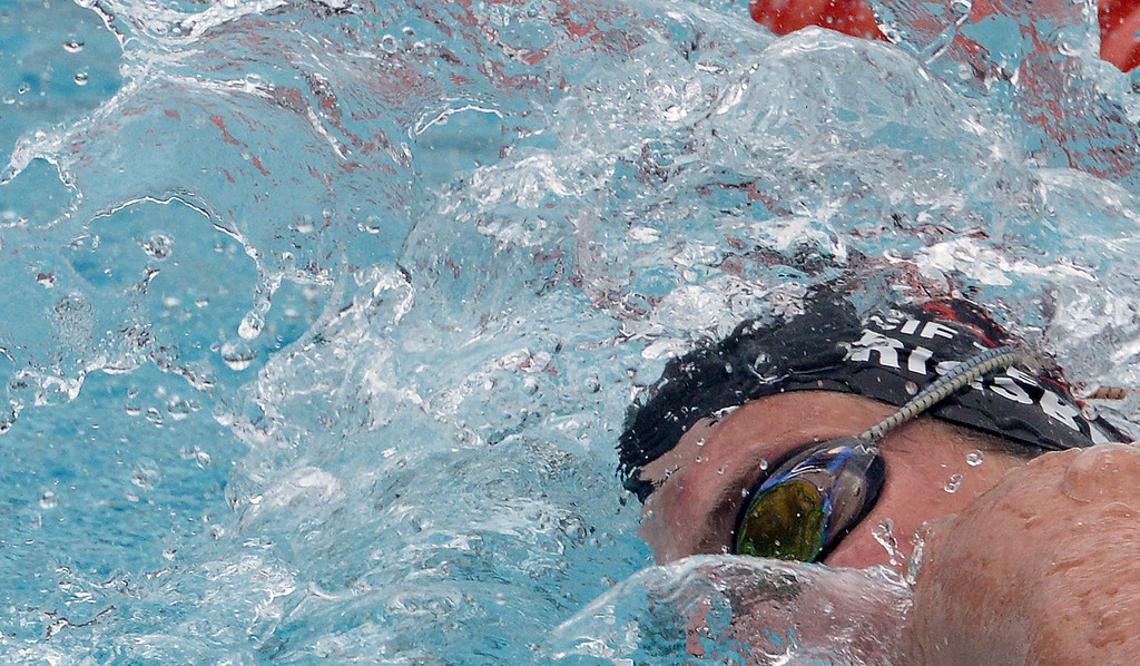 . Redlands East Valley\'s Emily Rigby in the consolation 100 yard freestyle during the CIF division 2 swimming finals in the Riverside Aquatics Complex at Riverside City College in Riverside, Calif., on Saturday, May 16, 2015.  (Photo by Keith Birmingham/ Pasadena Star-News)