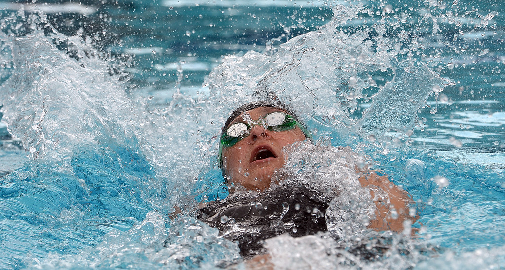 . Glendora\'s Katie Sulkevich in the 200 yard medley relay during the CIF division 2 swimming finals in the Riverside Aquatics Complex at Riverside City College in Riverside, Calif., on Saturday, May 16, 2015. Glendora finished in second place.  (Photo by Keith Birmingham/ Pasadena Star-News)