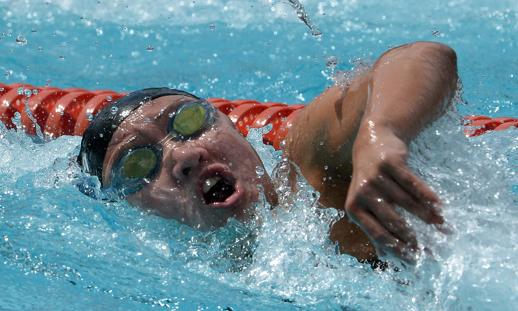 . Glendora\'s Catherine Sanchez finished third in the 200 yard freestyle during the CIF division 2 swimming finals in the Riverside Aquatics Complex at Riverside City College in Riverside, Calif., on Saturday, May 16, 2015.  (Photo by Keith Birmingham/ Pasadena Star-News)