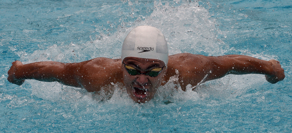 . San Marino\'s Javier Lopez finished second in the 100 yard butterfly during the CIF division 2 swimming finals in the Riverside Aquatics Complex at Riverside City College in Riverside, Calif., on Saturday, May 16, 2015.  (Photo by Keith Birmingham/ Pasadena Star-News)