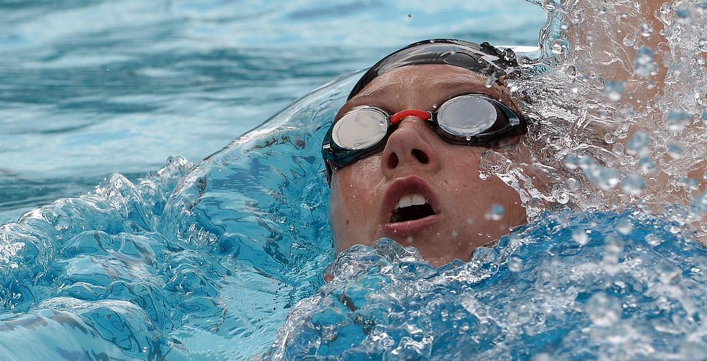 . Redlands East Valley\'s Emily Longfellow in the 200 yard IM consolation during the CIF division 2 swimming finals in the Riverside Aquatics Complex at Riverside City College in Riverside, Calif., on Saturday, May 16, 2015.  (Photo by Keith Birmingham/ Pasadena Star-News)