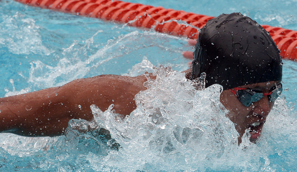 . South Pasadena\'s Garrett Tse finished seventh in the 100 yard butterfly during the CIF division 2 swimming finals in the Riverside Aquatics Complex at Riverside City College in Riverside, Calif., on Saturday, May 16, 2015.  (Photo by Keith Birmingham/ Pasadena Star-News)