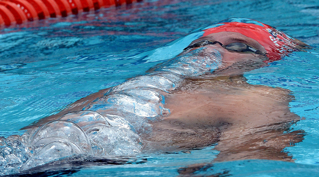 . Lakewood\'s Daniel McArthur wins the 200 yard IM during the CIF division 2 swimming finals in the Riverside Aquatics Complex at Riverside City College in Riverside, Calif., on Saturday, May 16, 2015.  (Photo by Keith Birmingham/ Pasadena Star-News)
