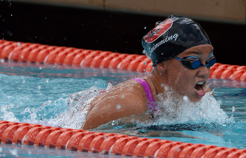 . Glendora\'s Jackie Basham in the 200 yard IM during the CIF division 2 swimming finals in the Riverside Aquatics Complex at Riverside City College in Riverside, Calif., on Saturday, May 16, 2015.  (Photo by Keith Birmingham/ Pasadena Star-News)