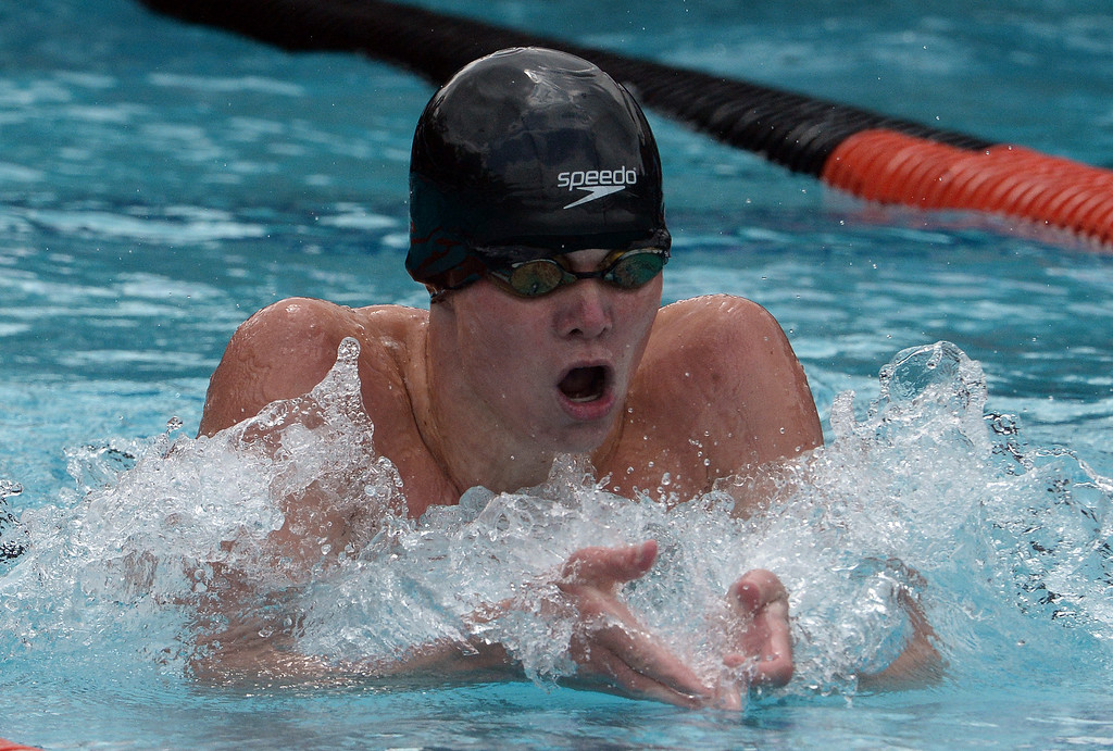 . Glendale\'s Trenton Julian finished third in the 200 yard IM during the CIF division 2 swimming finals in the Riverside Aquatics Complex at Riverside City College in Riverside, Calif., on Saturday, May 16, 2015.  (Photo by Keith Birmingham/ Pasadena Star-News)