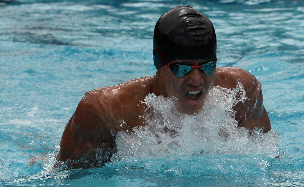 . South Pasadena\'s Garrett Tse finished fourth in the 200 yard IM during the CIF division 2 swimming finals in the Riverside Aquatics Complex at Riverside City College in Riverside, Calif., on Saturday, May 16, 2015.  (Photo by Keith Birmingham/ Pasadena Star-News)