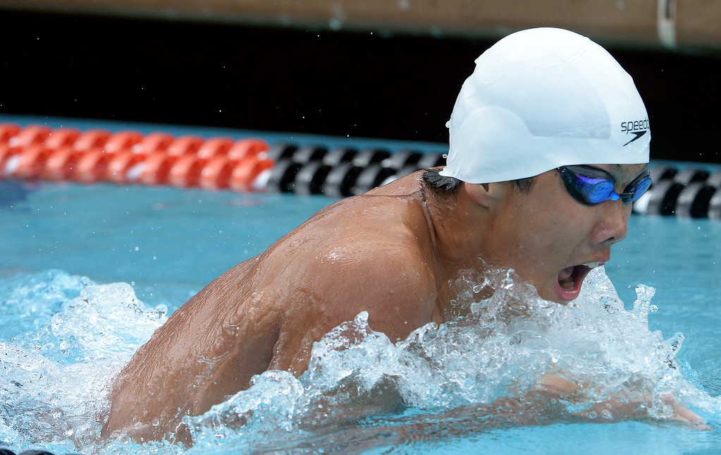 . Arcadia\'s Daniel Chao finished ninth in the 200 yard IM during the CIF division 2 swimming finals in the Riverside Aquatics Complex at Riverside City College in Riverside, Calif., on Saturday, May 16, 2015.  (Photo by Keith Birmingham/ Pasadena Star-News)