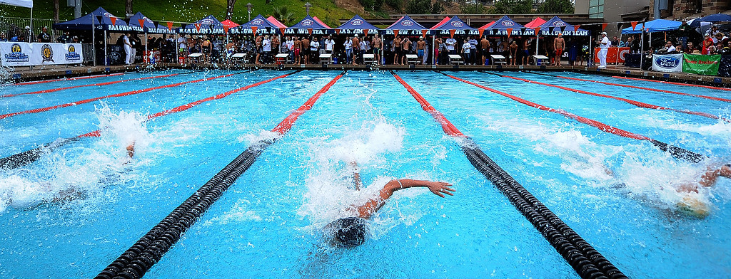 . The CIF division 2 swimming finals in the Riverside Aquatics Complex at Riverside City College in Riverside, Calif., on Saturday, May 16, 2015.  (Photo by Keith Birmingham/ Pasadena Star-News)