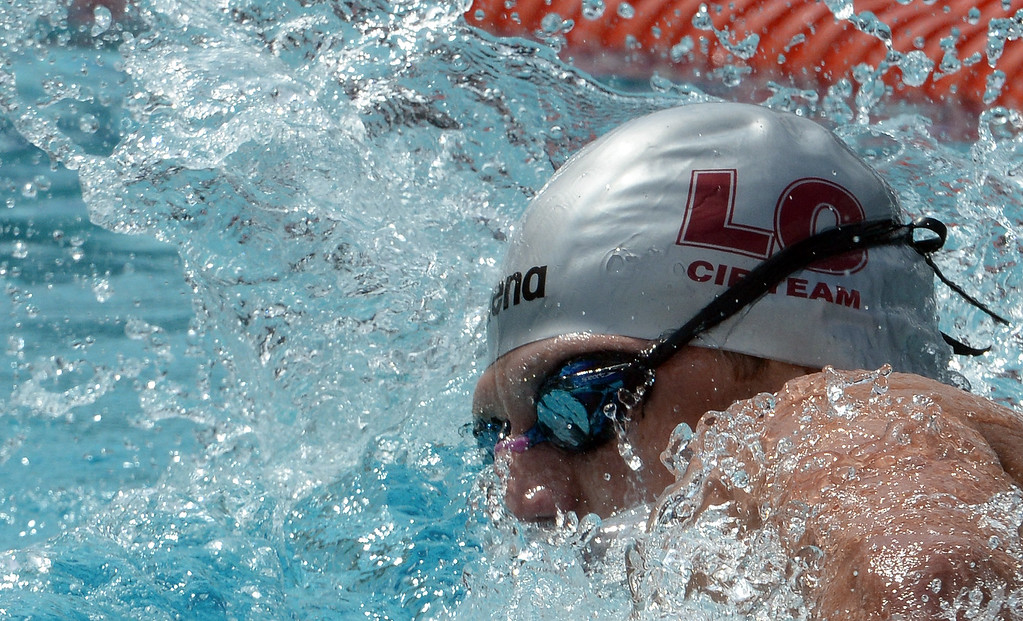 . La Canada\'s Dane Bell finished fourth in the 200 yard freestyle during the CIF division 2 swimming finals in the Riverside Aquatics Complex at Riverside City College in Riverside, Calif., on Saturday, May 16, 2015.  (Photo by Keith Birmingham/ Pasadena Star-News)