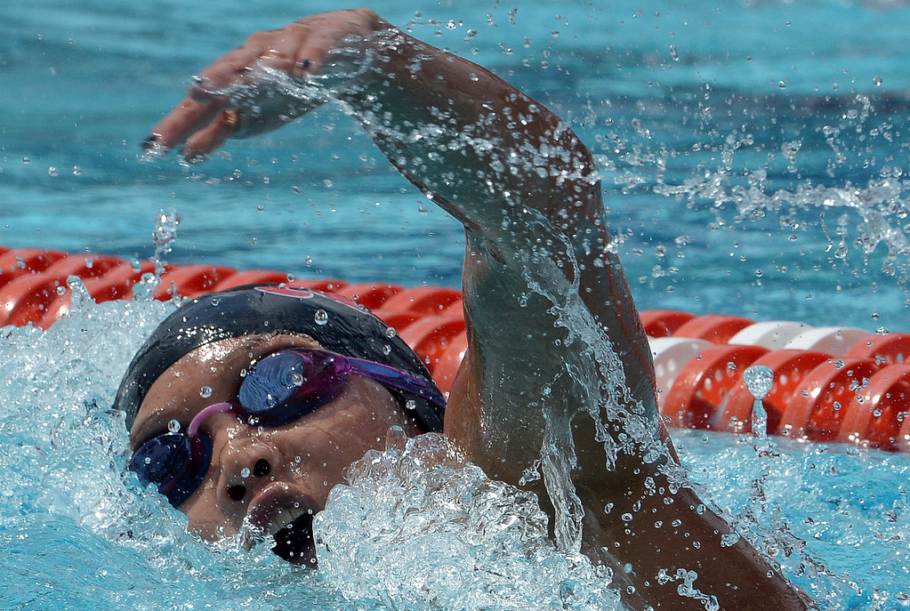 . Ayala\'s Kenisha Liu finished second in the 200 yard freestyle during the CIF division 2 swimming finals in the Riverside Aquatics Complex at Riverside City College in Riverside, Calif., on Saturday, May 16, 2015.  (Photo by Keith Birmingham/ Pasadena Star-News)