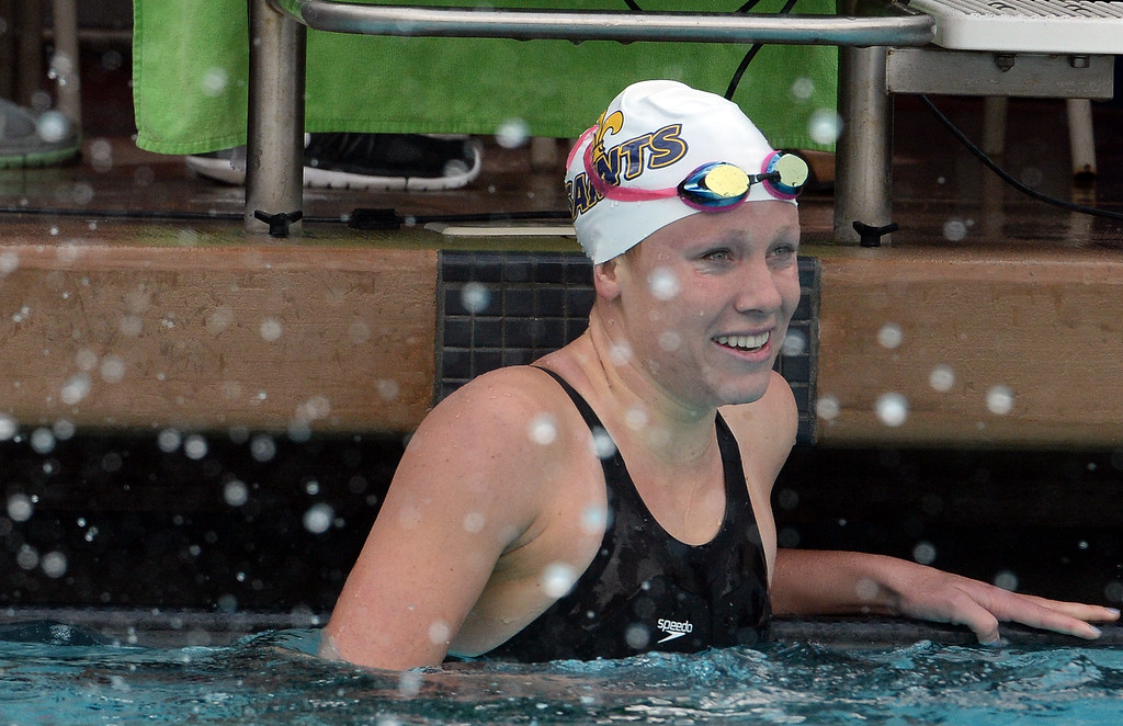 . Crean Lutheran\'s Ella Eastin smiles after winning the 200 yard IM during the CIF division 2 swimming finals in the Riverside Aquatics Complex at Riverside City College in Riverside, Calif., on Saturday, May 16, 2015.  (Photo by Keith Birmingham/ Pasadena Star-News)