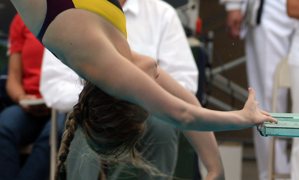 . La Canada\'s Kara Bradley injures her hand during the CIF division 2 swimming and diving finals in the Riverside Aquatics Complex at Riverside City College in Riverside, Calif., on Saturday, May 16, 2015.  (Photo by Keith Birmingham/ Pasadena Star-News)