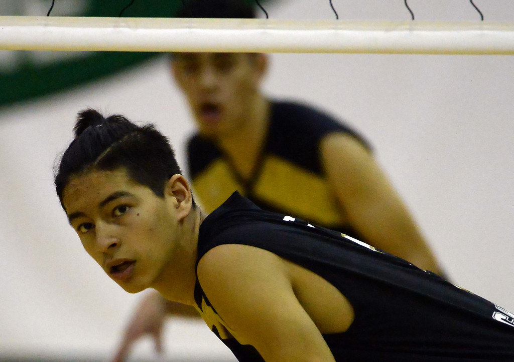 . Santa Fe\'s Isaiah Canales looks on against Damien in the first game of a prep volleyball match at Damien High School in La Verne, Calif., on Wednesday, May 20, 2015. Damien won 25-17, 25-19, 29-27. (Photo by Keith Birmingham/ Pasadena Star-News)