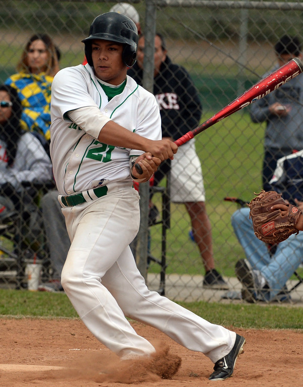 . Monrovia\'s Juan Quinonez watches his bases loaded double as three runs scores against Whittier Christian in the fourth inning of a prep playoff baseball game at Monrovia High School in Monrovia, Calif., on Thursday, May 21, 2015. Monrovia won 6-1.  (Photo by Keith Birmingham/ Pasadena Star-News)
