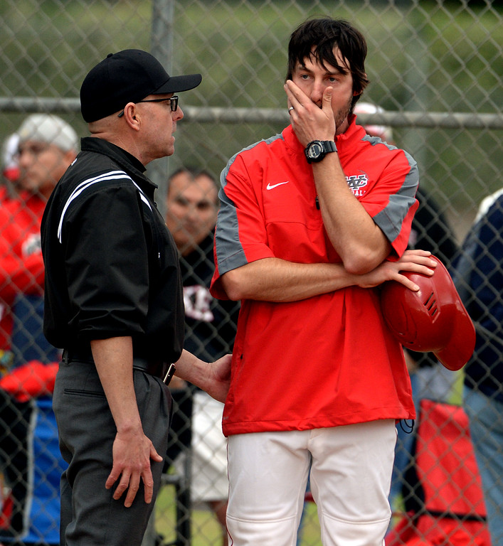 . Whittier Christian head coach Brent Lavoie reacts after a scoring double by Juan Quinonez (not pictured) in the fourth inning of a prep playoff baseball game at Monrovia High School in Monrovia, Calif., on Thursday, May 21, 2015. Monrovia won 6-1.  (Photo by Keith Birmingham/ Pasadena Star-News)