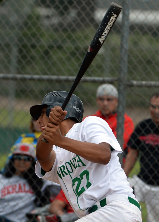 . Monrovia\'s Nick Garcia watches a his RBI double against Whittier Christian in the first inning of a prep playoff baseball game at Monrovia High School in Monrovia, Calif., on Thursday, May 21, 2015. Monrovia won 6-1.  (Photo by Keith Birmingham/ Pasadena Star-News)