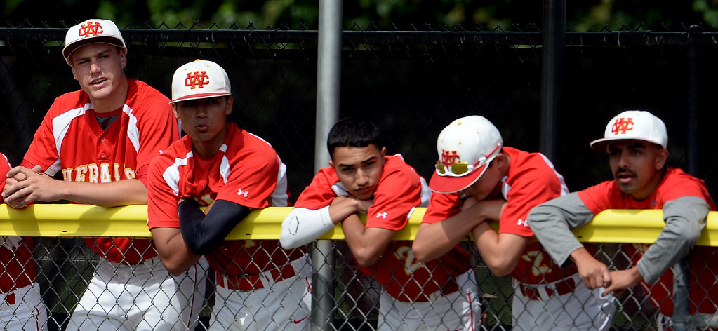 . Whittier Christian bench as Monrovia scores in the fourth inning of a prep playoff baseball game at Monrovia High School in Monrovia, Calif., on Thursday, May 21, 2015. Monrovia won 6-1.  (Photo by Keith Birmingham/ Pasadena Star-News)