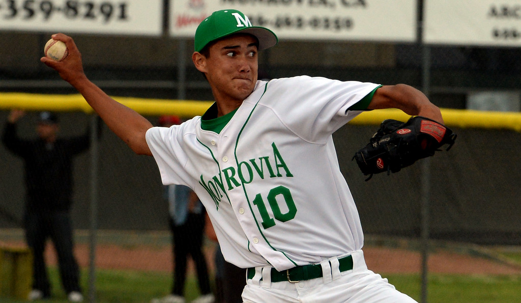 . Monrovia relief pitcher Justin Rosedale throws against Whittier Christian in the fifth inning of a prep playoff baseball game at Monrovia High School in Monrovia, Calif., on Thursday, May 21, 2015. Monrovia won 6-1.  (Photo by Keith Birmingham/ Pasadena Star-News)