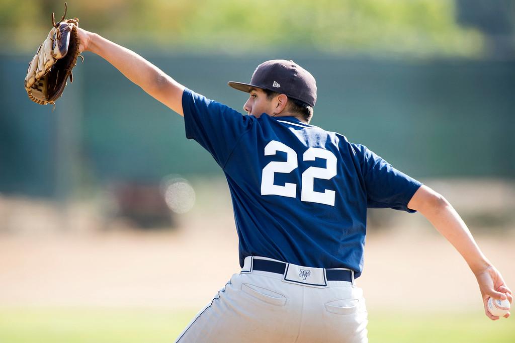. St. Paul High relief pitcher Jacob Guzman vs Walnut High at Walnut\'s campus field May 21, 2015.   (Photo by Leo Jarzomb/Whittier Daily News)