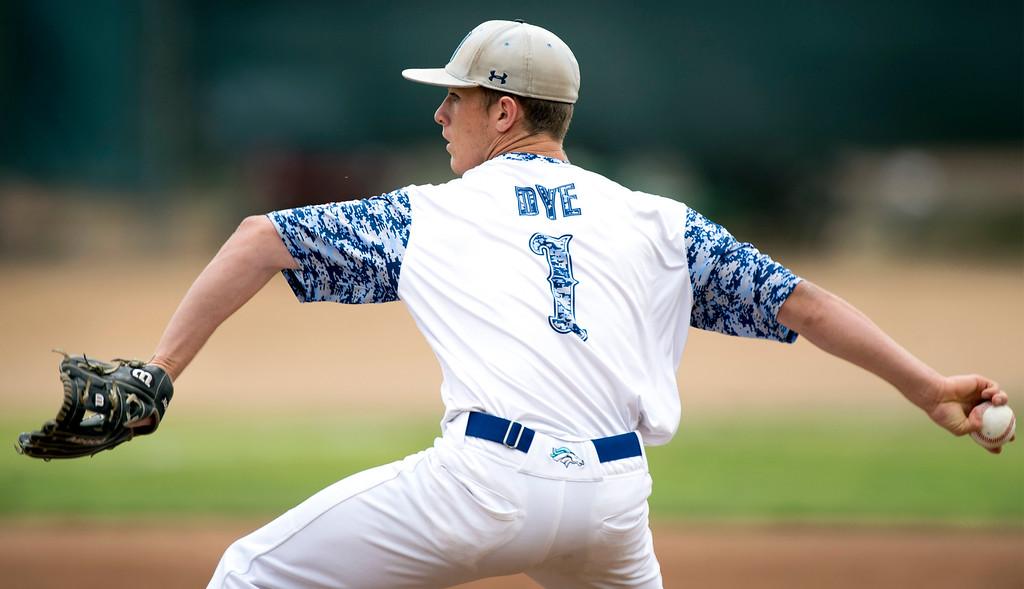 . Walnut High\'s starting pitcher Cody Dye vs St. Paul High at Walnut\'s campus field May 21, 2015.   (Photo by Leo Jarzomb/Whittier Daily News)