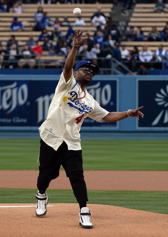 . Black Eyed Peas member Apl.de.Ap throws out the ceremonial pitch prior to a Major League Baseball game against the San Diego Padres on Friday, May 22, 2015 in Los Angeles.  (Photo by Keith Birmingham/ Pasadena Star-News)