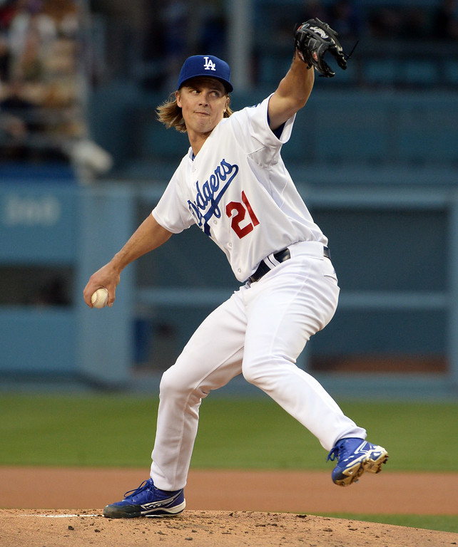 . Los Angeles Dodgers starting pitcher Zack Greinke throws against the San Diego Padres in the second inning of a Major League Baseball game on Friday, May 22, 2015 in Los Angeles.  (Photo by Keith Birmingham/ Pasadena Star-News)