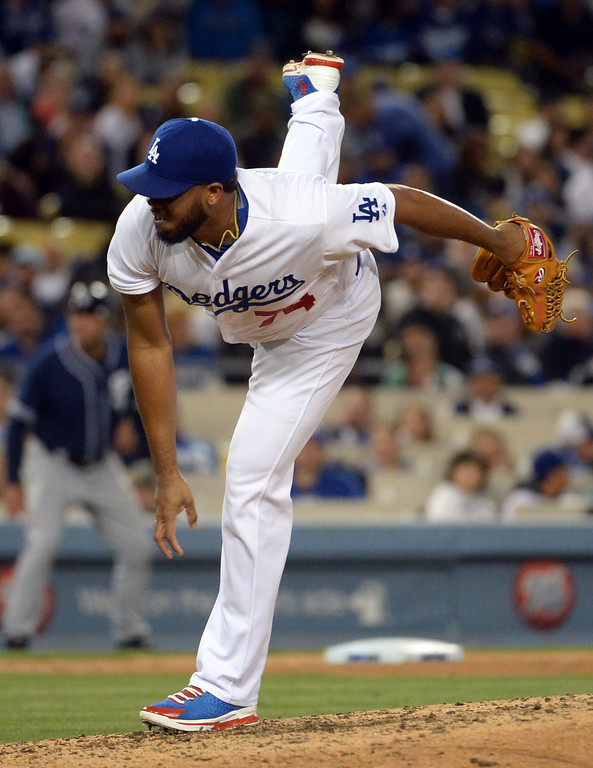 . Los Angeles Dodgers relief pitcher Kenley Jansen throws against the San Diego Padres in the ninth inning of a Major League Baseball game on Friday, May 22, 2015 in Los Angeles.  (Photo by Keith Birmingham/ Pasadena Star-News)