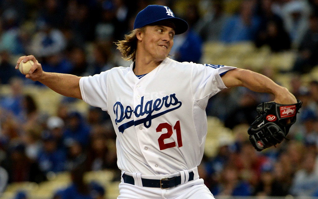 . Los Angeles Dodgers starting pitcher Zack Greinke throws against the San Diego Padres in the first inning of a Major League Baseball game on Friday, May 22, 2015 in Los Angeles.  (Photo by Keith Birmingham/ Pasadena Star-News)