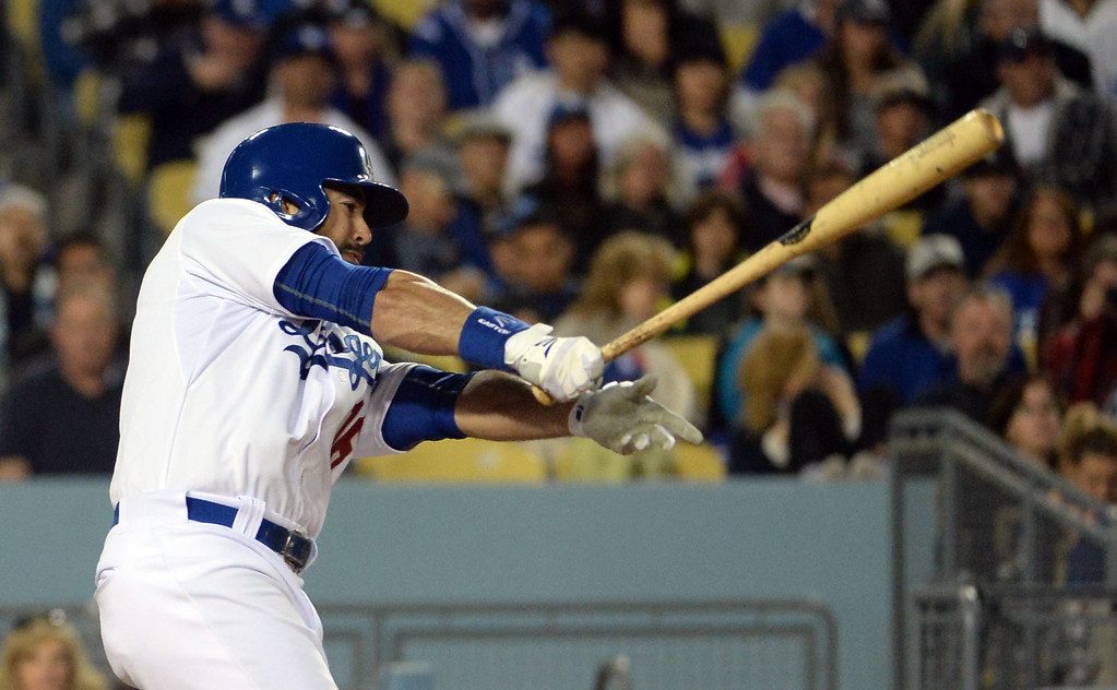 . Los Angeles Dodgers\' Andre Ethier RBI single as Justin Turner (not pictured) scores in the fifth inning of a Major League Baseball game against the San Diego Padres on Friday, May 22, 2015 in Los Angeles.  (Photo by Keith Birmingham/ Pasadena Star-News)