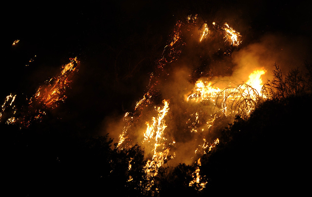 . Trees burn along a hill side during the Lake Fire along Hwy 38 in the San Bernardino National Forest on Saturday, June 20, 2015. (Photo by Keith Birmingham/ Pasadena Star-News)