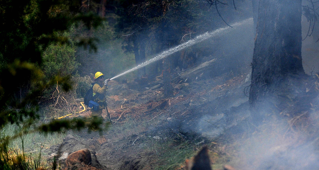 . Riverside City firefighter Ryan Carroll fights the fire during the Lake Fire along Hwy 38 in the San Bernardino National Forest on Saturday, June 20, 2015. (Photo by Keith Birmingham/ Pasadena Star-News)