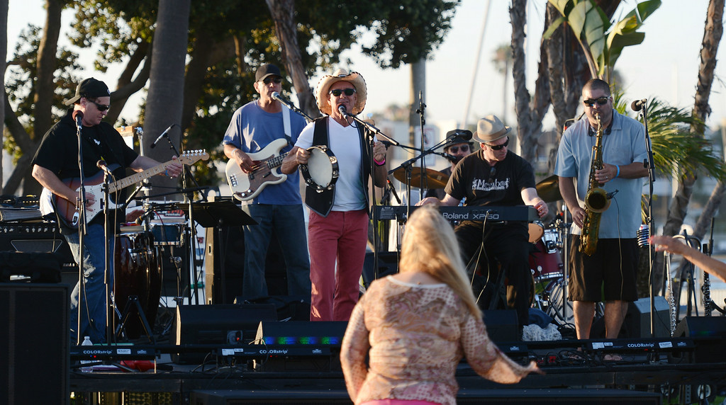 . Greg Carroll & the Katz \'n Jammers perform during  the  Big Bang on the Bay,  a community  block party that took place from 5:30 to 9:30 p.m. at The Boathouse on the Bay.  The party featured live music food and flyovers by parachutists, vintage aircraft and topped off by Fireworks over Alamitos Bay. Long Beach Calif.,  Thursday July 3,  2014.    (Photo by Stephen Carr / Daily Breeze)