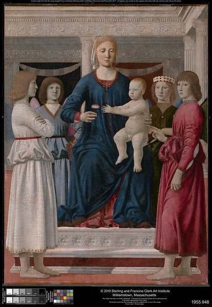 Piero della Francesca (1411/13–1492)<br /> Virgin and Child Enthroned with Four Angels, c. 1460-70<br /> Oil (and tempera?) transferred to fabric on panel<br /> 42.4 x 30.9 inches<br /> © The Sterling and Francine Clark Art Institute, Williamstown, Massachusetts<br /> <br /> Clark FULL