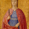 Piero della Francesca (1411/13–1492)<br /> Saint Apollonia, 1454–1469<br /> Oil and tempera on poplar panel<br /> 15.3 x 11 inches<br /> National Gallery of Art, Washington D.C.