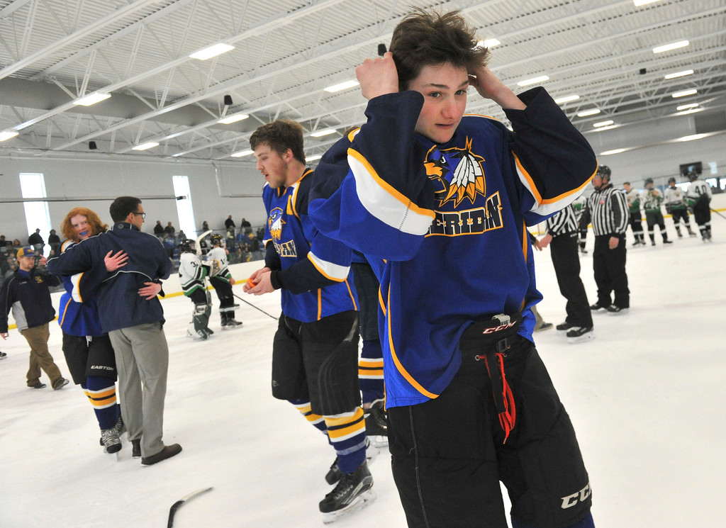 Justin Sheely | The Sheridan Press<br /> Sheridan's Hunter Swanson reacts after beating Laramie during the WAHL High School B State Championship at Whitney Ice Rink in the M&M's Center Sunday, Feb. 25, 2018. The Hawks beat Laramie 4-3 to claim their first state title in 12 years.
