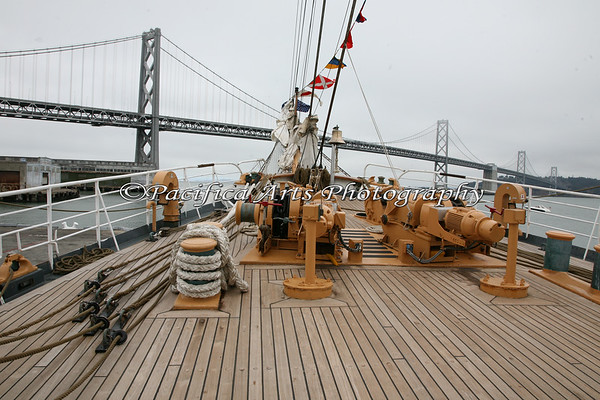 """""""USCGC Eagle"""" - bow of the ship, looking toward the San Francisco/Oakland Bay Bridge.  Have you ever seen a cleaner deck than this?"""