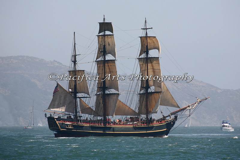"""HMS Bounty"" under sail in the San Francisco Bay.  She is a wooden ship, that dispaces 412 tons and carries 18 sails (10,000 sq. ft. of hand sewn canvas) on her three masts.  Bounty is 120 feet long on deck, (180 feet overall), 115 feet tall at the main mast, and carries 10 miles of line for rigging. <br /> (29Oct2012 - I'm so sorry to hear that the HMS Bounty has sunk off of the East Coast.  My prayers are with the crew and families of the Bounty, and also the Coast Guard crew that helped in their rescue)"