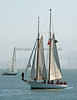 """Brigadoon"", a gaff rigged schooner (on right) in the San Francisco bay."