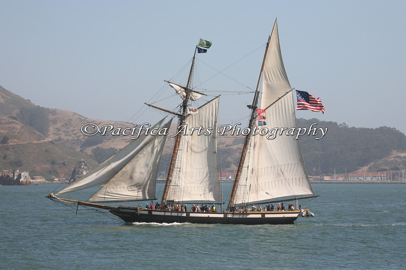 """Privateer """"Lynx"""", sailing around the San Francisco Bay.  She is 78 feet long and carries over 4,600 sq. ft. of sail.  Privateers were used around the War of 1812 to prey upon enemy ships, and these schooners possess superior sailing abilites (they're really fast, in able to outrun the other ships)."""