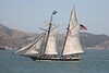"Privateer ""Lynx"", sailing around the San Francisco Bay.  She is 78 feet long and carries over 4,600 sq. ft. of sail.  Privateers were used around the War of 1812 to prey upon enemy ships, and these schooners possess superior sailing abilites (they're really fast, in able to outrun the other ships)."