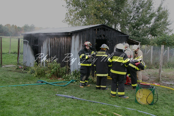 Leicester, Cuylerville FD's - Shed Fire - 1841 Perry Rd - October 10, 2005