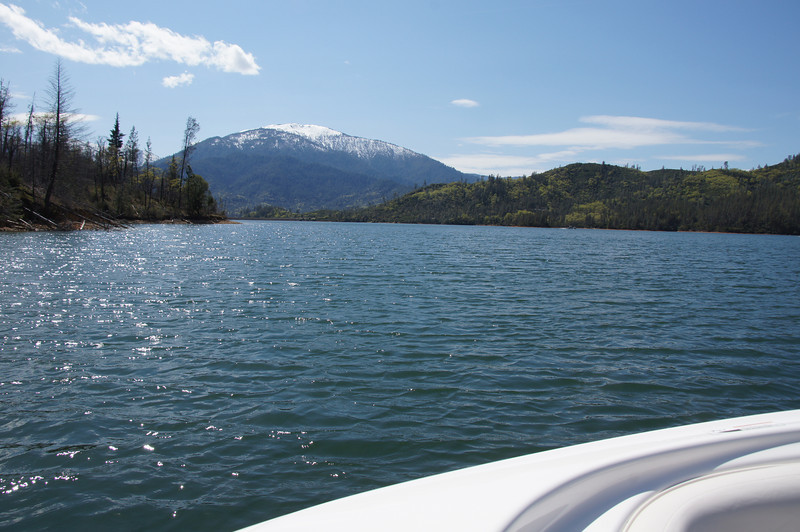 Nancy and Keith wanted to go fishing. We decided on Whiskeytown Lake over Shasta because there is a lot of debris in Lake Shasta due to the rapidly rising lake level that picks up twigs and branches off the shore. Both lakes offer beautiful views including snow capped mountains this time of year. It will be another month before the snow on Shasta Bally (seen here) melts and by that time we should have daytime temps in the 90's.