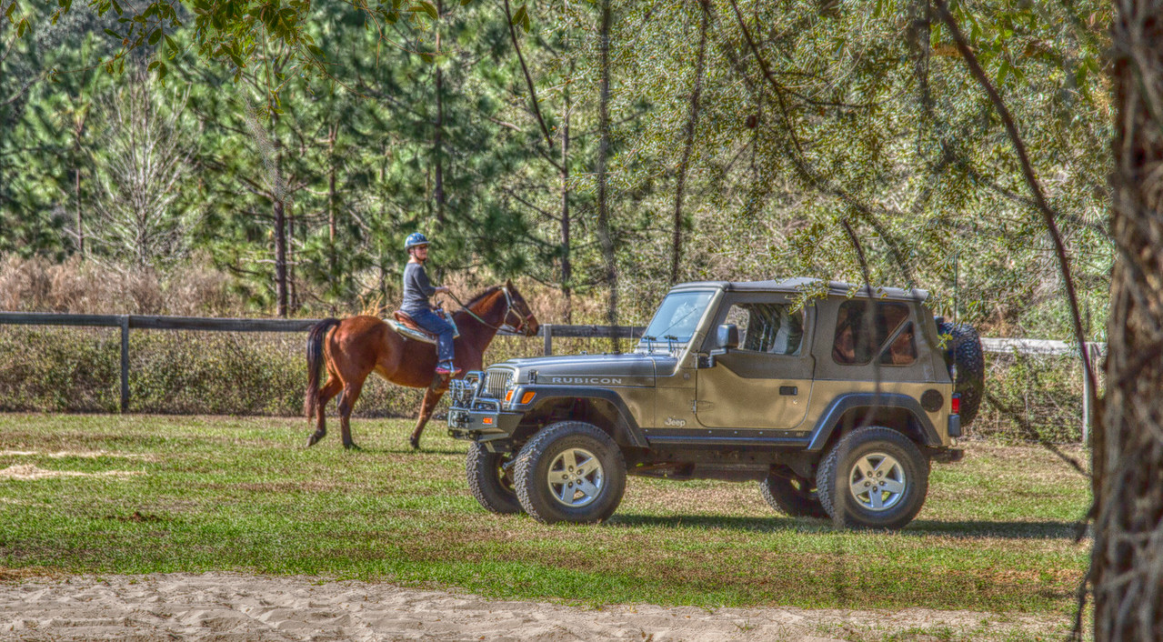 "Lynda on ""Slick"" and our Jeep.    Both ""Trail Rated""       PS: Only if you own a Jeep will you understand........"