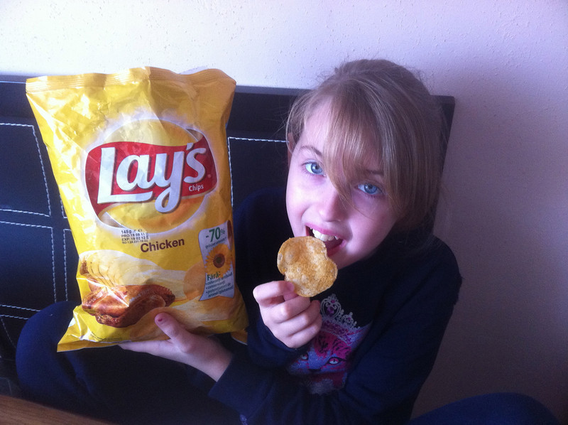 "Yes, you read it correctly. It says ""Chicken"" flavor. The chips smell and taste like chicken. Lauren loves them."