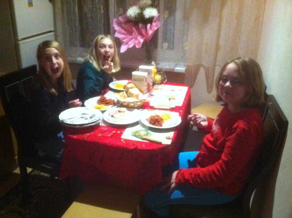 The girls enjoying our first attempt at American spaghetti. The sauce was a bit thick...